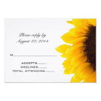 Girassol preto amarelo que Wedding cartões de RSVP Convite 8.89 X 12.7cm