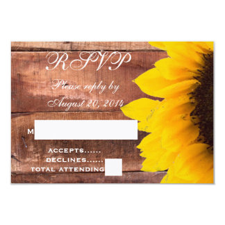 Girassol RSVP Wedding rústico Convite 8.89 X 12.7cm