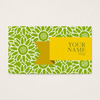 Girassol verde-maçã da fita dourada cartão de visitas