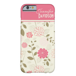 Girly Pink Ivory Tan Floral Monogram iPhone 6 case