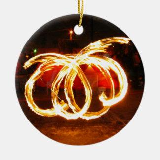 Giro do fogo - funcionarios do dragão ornamento de cerâmica redondo