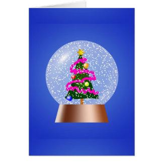 Globo da neve da árvore de Natal Cartão Comemorativo