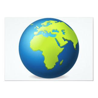 Globo Europa África - Emoji da terra Convite 12.7 X 17.78cm