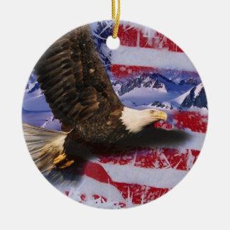 Glória congelada, Eagle & bandeira americana Ornamento De Cerâmica Redondo