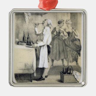 Glutonaria na cozinha, de uma série dos impressões ornamento quadrado cor prata