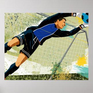 Goalie do futebol que obstrui a bola pôster