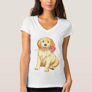 Golden retriever cor-de-rosa dos namorados t-shirt