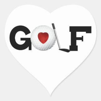 Golfe com camiseta e presentes da bola de golfe adesivo coração