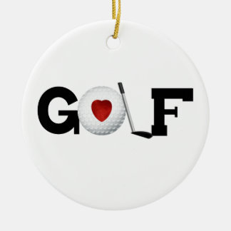 Golfe com camiseta e presentes da bola de golfe ornamento de cerâmica redondo