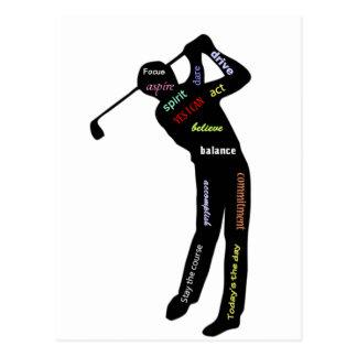 Golfe, esporte, palavras inspiradores cartão postal