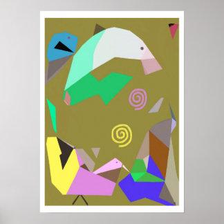 Golfinho e poster surreal da arte dos amigos