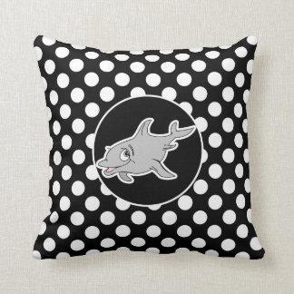 Golfinho em bolinhas preto e branco travesseiro de decoração