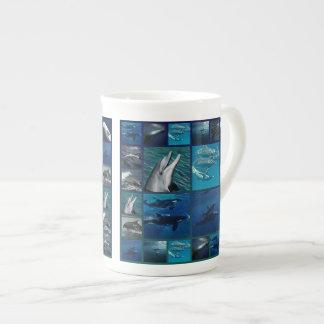 Golfinhos e colagem das baleias xícara de chá