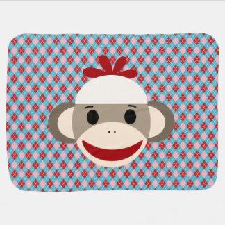 Golpeie a cobertura do bebê do macaco com argyle cobertores de bebe