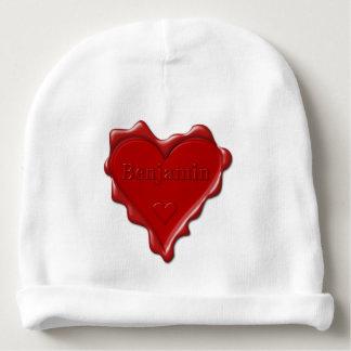 Gorro Para Bebê Benjamin. Selo vermelho da cera do coração com