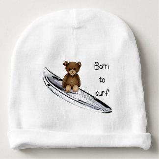 """Gorro Para Bebê Boné de nascimento branco """"Born to surf """""""