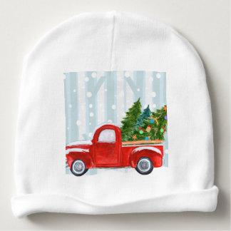Gorro Para Bebê Camionete vermelho do Natal em uma estrada nevado