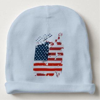 Gorro Para Bebê Como um americano. Bandeira do grunge dos EUA
