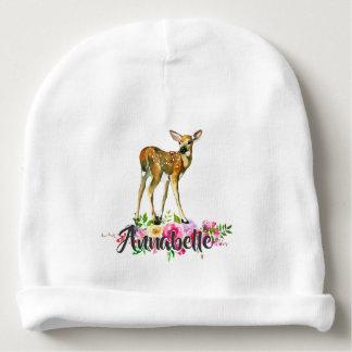 Gorro Para Bebê Monograma floral do bebê da aguarela dos cervos da
