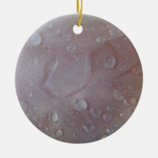 Gotas da chuva em uma pétala da íris ornamento de cerâmica