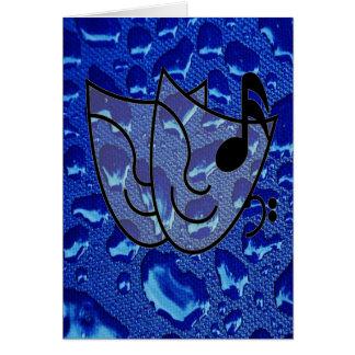 Gotas de água azul profundas cartão