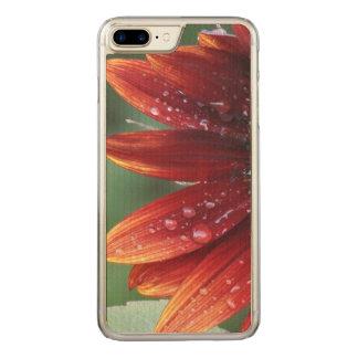 Gotas vermelhas das pétalas e da chuva do girassol capa iPhone 7 plus carved