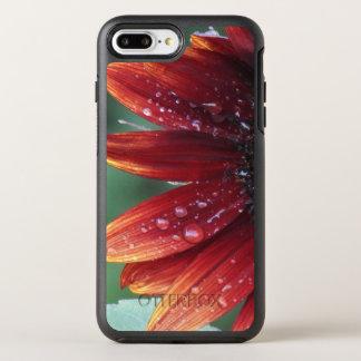 Gotas vermelhas das pétalas e da chuva do girassol capa para iPhone 8 plus/7 plus OtterBox symmetry