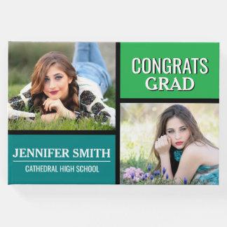 Graduação azul da foto do bloco da cor verde livro de visitas