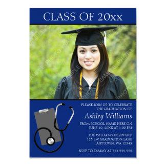 Graduação azul médica da foto da escola de convite 12.7 x 17.78cm