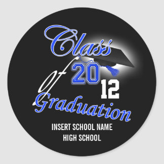 """Graduação """"classe do preto azul"""" do anúncio adesivos em formato redondos"""