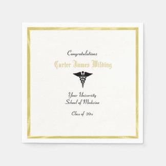 Graduação, Faculdade de Medicina, Caduceus, ouro Guardanapo De Papel