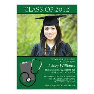 Graduação médica da foto do verde da escola de convite 12.7 x 17.78cm
