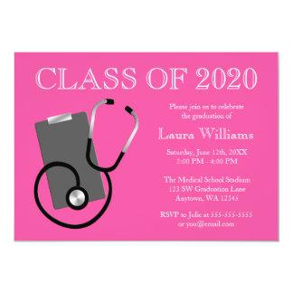 Graduação médica do rosa da escola de cuidados convite 12.7 x 17.78cm
