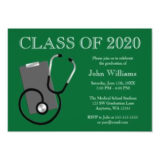 Graduação médica do verde da escola de cuidados convite 12.7 x 17.78cm