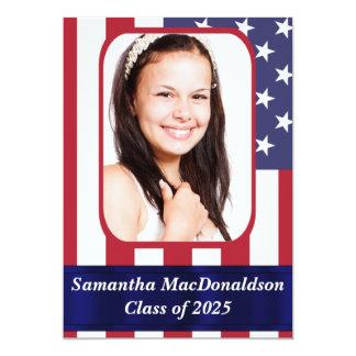 Graduação patriótica da foto da bandeira americana convites personalizados