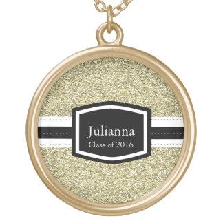 Graduação personalizada Bling do ouro Colar Com Pendente Redondo