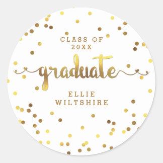 Graduação personalizada confetes da folha de ouro adesivo