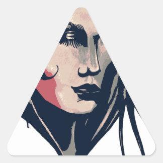 Gráfico da mulher adesivo triangular