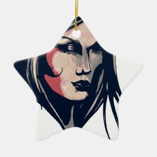 Gráfico da mulher ornamento de cerâmica estrela