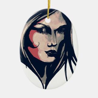 Gráfico da mulher ornamento de cerâmica oval
