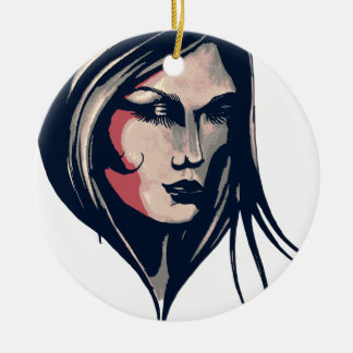 Gráfico da mulher ornamento de cerâmica redondo