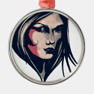Gráfico da mulher ornamento redondo cor prata