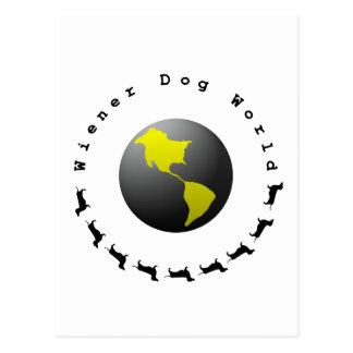 Gráfico do mundo do cão do Wiener Cartão Postal