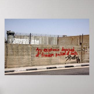 Grafites da parede do Apartheid de Palestina Pôsteres