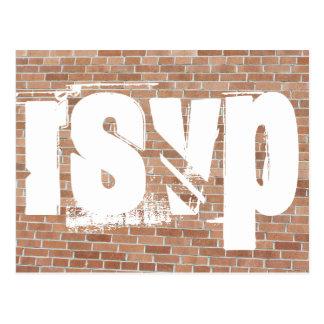Grafites RSVP da parede de tijolo Cartão Postal
