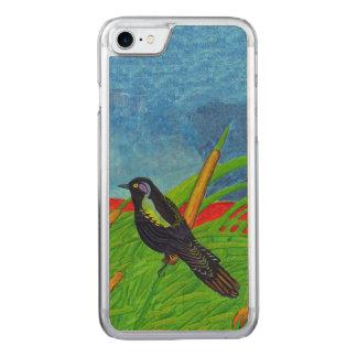 Grama alta do pássaro preto vibrante capa iPhone 7 carved