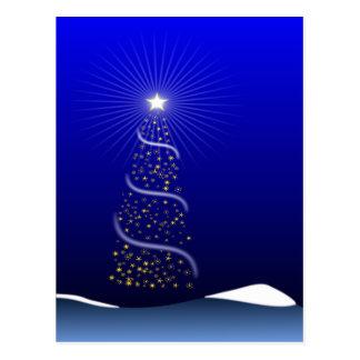 Grande árvore de Natal azul com estrelas douradas Cartão Postal