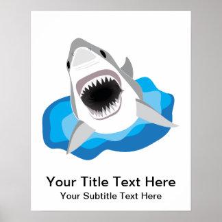 Grande ataque do tubarão branco pôster