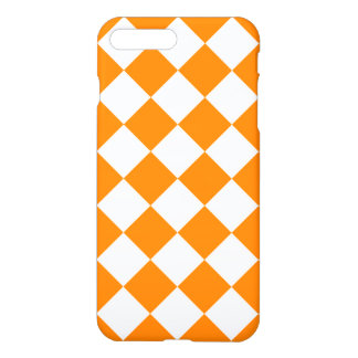 Grande Checkered de Diag - branco e laranja Capa iPhone 7 Plus