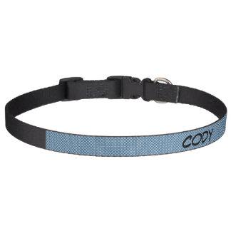 Grande coleira de cão do teste padrão azul